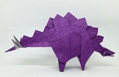 Stegosaurus (2015), designed by Fumiaki Kawahata (M@ttyGroves) Tags: purple dinosaur origami paper fumiaki kawahata stegosaurus