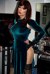 Little blue dress (Juliapanther Over 36 million views, thanks!!!) Tags: julia panther juliapanther tgirl mirror little blue dress makeup makeover pantyhose pink lips lipstick red redhead glamour portrait posing model pinup velour shiny nails hot gloves leather reflection