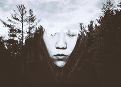 224/3365 Lost in Solitude (Emily Moy Photography) Tags: blackandwhite portrait conceptual conceptualportrait doubleexposure forest nature cinematic mood emotion people selfportrait 365 365project solitude lostinsolitude girl hair face canon emilymoy emilymoyphotography