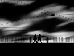...againsttheclouds... (*ines_maria) Tags: vienna streetphotography street bridge monochrome blackandwhite light dark city sky silhouette shadow urban urbanart panasonicdmcgx8