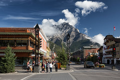 Corner of Banff and Buffalo (Mark Heine Photos) Tags: ca canada town alberta shops banff pinetrees banffnationalpark canadianrockies cascademountain markheine