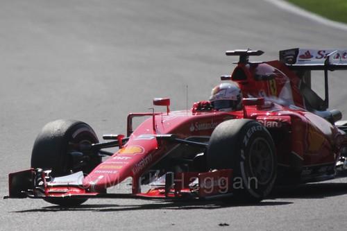 Sebastian Vettel in Free Practice 1 for the 2015 Belgium Grand Prix