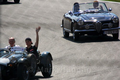 Max Verstappen and Fernando Alonso in the Drivers' Parade at the 2015 Belgium Grand Prix