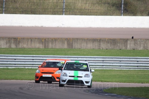 Ian Wilson and Jamie Going in Fiesta Racing at Rockingham, Sept 2015