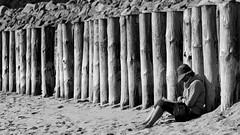 Meditation (Arthur Huet) Tags: people bw beach monochrome reading book sticks sand thought peace graphic sable geometrical noirmoutier plage bois vende