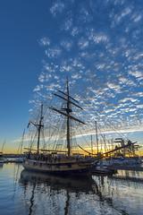 Oakland sunset (acase1968) Tags: california blue sky sun london lady square lens ed jack star washington nikon ship cloudy sunny hawaiian d750 tall 20mm nikkor afs partly sunstar chieftain f18g