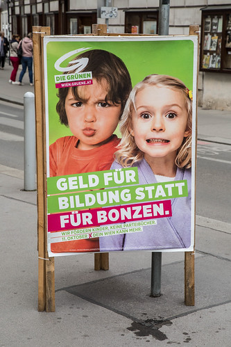 "09 Sep. 2015. Vienna, Austria. ""Money for Education, instead of for Bigshots"""