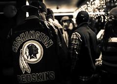 Washington Redskins Fandom (Johnny Silvercloud) Tags: winter blackandwhite bw detail monochrome sepia bar club canon fan blackwhite football circles name highcontrast korea jacket busan fans southkorea vignette redskins controversial sportsphotography washingtonredskins footballfan porttown canon5dmarkiii lightroom5