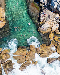 Whirlpools (sebr) Tags: ocean water pool sydney australia fromabove nsw swimmer newsouthwales swimmers aerialphotography coogee rockpool oceanpool architecturalelement