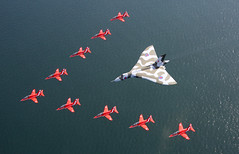 """The 'Red Arrows' have flown with the """"Vulcan"""" bomber for the final time in a show of great British aviation icons. (aeroman3) Tags: uk sea hawk aircraft jet historic formation vulcan redarrows aerobaticteam vulcanbomber southportairshow"""