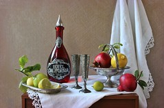 """Hotel California"" (Esther Spektor - Thanks for 12+millions views..) Tags: stilllife naturemorte bodegon naturezamorta stilleben naturamorta arrangement composition creativephotography atristicphoto tabletop hotelcalifornia food fruit pomegranate citrus lemon stem lliqueur tequila bottle goblet basket plate lime curtain label glass metal linen lace pattern availablelight reflection slice white red yellow green silver black estherspektor canon"