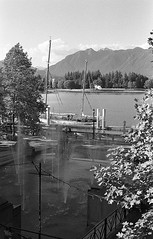 Coal Harbour Fountains (GMcCoolR) Tags: yellow vancouver bc bw analog ilford film hmcs oriole