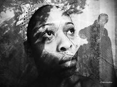 Me and My Shadows (2016) (Stephenie DeKouadio) Tags: canon photography blackandwhite monochrome shadow shadows portrait woman eyes art artistic darkandlight face mystroke myapraxia mybraininjury selfportrait selfie artwork