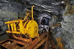Treuil (flallier) Tags: mine souterraine cuivre underground cooper mining abandoned rails railroad voieferrée silhouette backlighting jaune yellow treuil industrie industriel