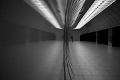 Marienplatz (maekke) Tags: munich münchen deutschland underground urban architecture reflection streetphotography man publictransport 2016 fujifilm x100t 35mm bw noiretblanc
