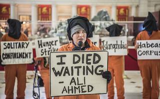 Chantal de Alcuaz Speaks at an Anti-Torture Demonstration in Union Station