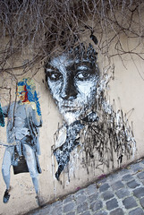 Street art @ Monmartre (tim jg photography) Tags: graf graffiti graffitiartist art streetart bright colourful monmartre paris france paint foliage black white painted street cobbles lady female face colour dody man eyes staring fakehair shrubbery