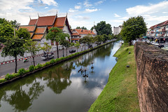 Chiang Mai Old City Surrounded by the Ancient Wall and Moat (dean.white) Tags: thailand th northernthailand chiangmai oldcity wall bricks citywall moat city town temples siphumcorner ruins water reflection canoneos6d canonef24105mmf4lisusm