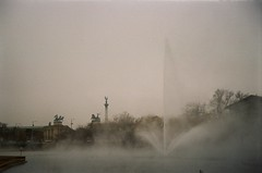 out of mind (szmenazsófi) Tags: smenasymbol lomographycolornegative800 lomography negative 800 city lanscape winter wintry smena outdoor ethereal steam unaltered unedited fog lomo budapest hungary heroessquare landscape grey gray fountain lomographycolornegative800iso sovietcamera analogcamera iso800