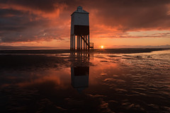 Burnham-On-Fire (EmPhoto.) Tags: grade2listedbuilding lighthouse seascape sunset fiery reflections burnhamonsea somerset uk emmiejgee landscapepassion canoneos70d canonefs1022mm lowlighthouse classic iconic