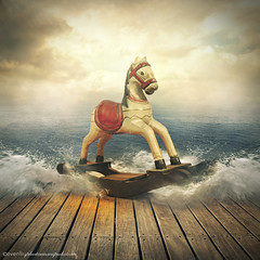 wooden horse (evenliu photography) Tags: manipulation photomanipulation photoshop photoedit surreal surrealism horse wooden sea imagine dream dreamscape kid even liu evenliu
