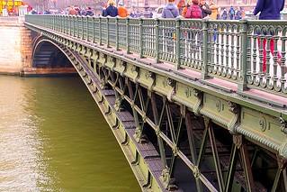 Le Pont d'Arcole (Arcole bridge) in Paris on a dark, cloudy and rainy day...