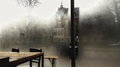 Antwerp (Luc Herman) Tags: lucien coffee cafelucien view city building antwerpen antwerp window moist belgium flanders through cafe interior kunstacademie kareloomsstraat coffeebar koffieshop mist fog sunshine rainy dekunsthumaniora