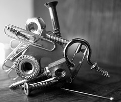 ...let's stick together...Metal Macro Monday (carbumba) Tags: metal screws nails clips nuts boults magnet silver pins hardware closeup macro nikon monochrome macromondays