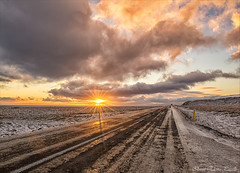 Road of Iceland (Elanor82) Tags: canon eos 5d mark3 mrk3 mk3 2470 usm is iceland island winter inverno ghiaccio ice neve snow sunset tramonto nuvole clouds sky cielo road strada street