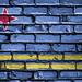 National Flag of Aruba on a Brick Wall
