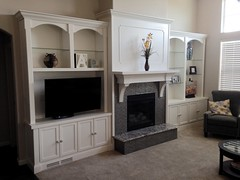Built-in Fireplace & shelving (ToOliver2) Tags: fireplace denver hearth woodworking entertainmentcenter mantel builtin 2015 glassshelves temperedglass tonyoliver solterra
