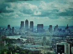 Wharfscape (Douguerreotype) Tags: city uk blue england sky urban london thames architecture clouds buildings river landscape cityscape view britain gb docklands british canarywharf walkietalkie urbex