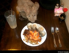 Dr. Takeshi Yamada and Seara (Coney Island Sea Rabbit) at the Seaport Chinese Buffet Restaurant in Sheepshead Bay in Brooklyn, NY on September 8, 2015. chowder clams, squids, fried shrimps, stuffed blue crab, grilled beef, etc. 20150908 100_9928=0010rC (searabbits23) Tags: ny newyork sexy celebrity art hat fashion animal brooklyn painting sushi asian coneyisland japanese star restaurant tv google king artist dragon god manhattan wildlife famous gothic goth chinese performance pop taxidermy cnn tuxedo bikini tophat unitednations playboy entertainer samurai genius buffet mermaid amc johnnydepp mardigras salvadordali unicorn billclinton billgates aol vangogh curiosities sideshow jeffkoons globalwarming takashimurakami pablopicasso steampunk damienhirst cryptozoology freakshow barackobama seara immortalized takeshiyamada museumofworldwonders roguetaxidermy searabbit ladygaga climategate minnesotaassociationofroguetaxidermists