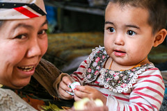 A little girl with grandmother, Kashgar old city (inchiki tour) Tags: travel people girl snapshot uighur xinjiang silkroad kashgar  uyghur traveling centralasia  kashi   2015