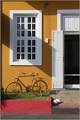 bicycle, pondicherry (nevil zaveri (thank you for 10million+ views :)) Tags: street door people india white man streets color colour men art window bicycle yellow cane architecture photography hotel photo blog cafe photographer photos geometry south stock colonial craft images vehicles photographs photograph geometrical zaveri tamilnadu pondicherry stockimages nevil pondi puducherry nevilzaveri