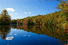 Autumn reflections! (ineedathis, Keep on Ticking!) Tags: morning autumn trees newyork fall water colors clouds reflections pond huntington bluesky longisland coldspringharbor nikond750