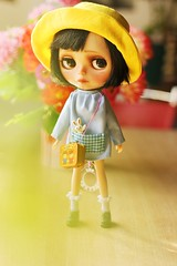 Kumi (♥ Ale plays with dolls (Ale-K)) Tags: cute children japanese miniature outfit uniform doll sad sweet kinder kawaii blythe custom rement schoolgirl faceupbyme myfaceup
