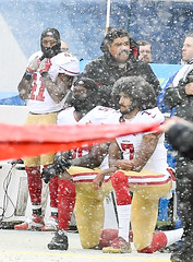 Protesting the U.S. National Anthem (Q Win) Tags: sports december snow winter nfl football us anthem national protest kaepernick colin bears 49ers