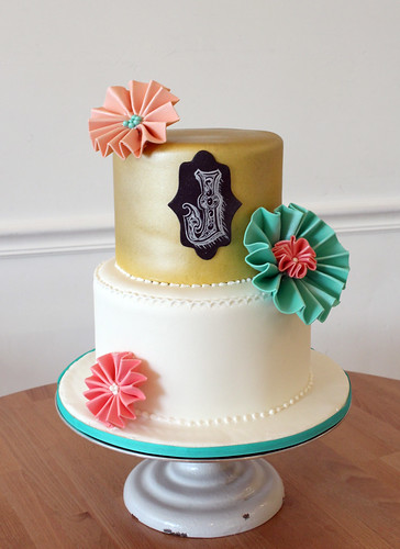 Paper Flowers and Chalkboard Cake