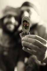 just one selfi (Rainer Schund) Tags: just one selfi portrait porträt studio handy albern kumpels toy story monoton mono nikond4 nikon