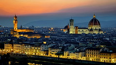 "Twilight in Firenze (gerard eder) Tags: world travel reise viajes europa europe italy italien italia toscana tuscany florence firenze florenz florencia duomo cathedral catedral kathedrale panorama twiglight sunset sonnenuntergang puestadesol night nacht noche ""flickrtravelaward"