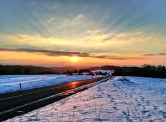 Sonnenuntergang in Eselshalden (almresi1) Tags: sunset snow schnee street strasse sun abendrot welzheim
