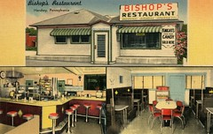 Bishop's Restaurant, Hershey, Pa. (Alan Mays) Tags: ephemera postcards linenpostcards linens advertising advertisements ads paper printed bishopsrestaurant restaurants chairs stools tables booths counters exteriors interiors signs knightshomemadecandy knightscandy candies food spaghetti illustrations yellow red green hershey pa dauphincounty pennsylvania antique old vintage mellingerstudios mellinger printers publishers postcardpublishers lancaster lancastercounty