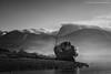 Return to Corpach (Damon Finlay) Tags: scottish highlands scottishhighlands loch linnhe lochlinnhe corpach fort william fortwilliam islands highlandsandislands scotland mountains nikon d750 nikond750 tamron 2470 f28 tamron2470f28 monochrome black white blackandwhite silver efex pro 2 silverefexpro2 nik collection nikcollection bennevis ben nevis old boat oldboat