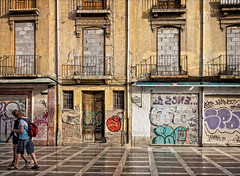 We are out of here! (Tigra K) Tags: granada andalucía spain es 2015 architecture balcony city door floor lattice painting people road ruin wild window