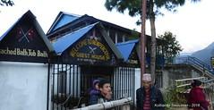 P1100964 Ready to leave Landruk outside the New Peacful GH (8-25AM) (ks_bluechip) Tags: nepal trek dec2016 annapurna abc mbc landruk tolga pitamdeorali pothana