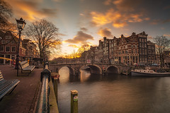 Amsterdam (angheloflores) Tags: amsterdam canal brouwersgracht houses water reflections clouds sky colors sunset travel architecture urban explore netherlands winter bridge lights