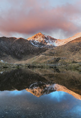 First light snowdon (dannykenealy) Tags: firstlight cloudsstormssunsetssunrises snow reflections outdoors mountains hdr wales walking