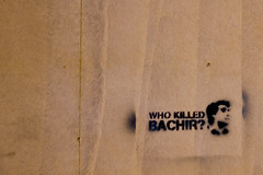 Who Killed Bachir? (miskan) Tags: kuwait nikon d70 digital 50mm camera middleeast gulf asia lebanon politics politcal politcalmessage beirut bachir gemayel stencil graffiti graphics typography assassination