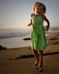 jump jump jump (Sara Heinrichs (awfulsara)) Tags: ocean sunset beach dance kid jump child backlit morrobay utatajumps